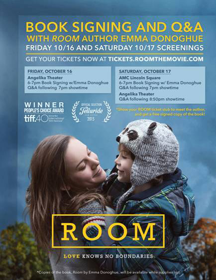 Movie, Book Signing plus Q&A with ROOM author Emma Donoghue