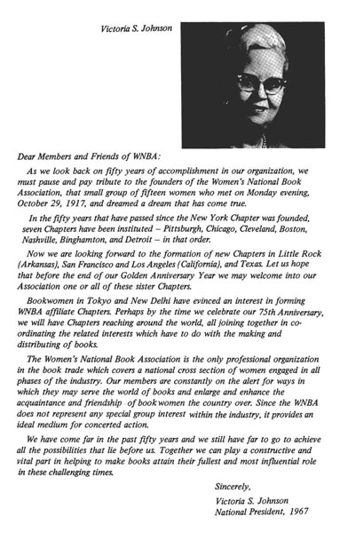 Letter from Victoria S. Johnson; Credit: WNBA Archives